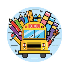 school bus with pencils colors and ruler
