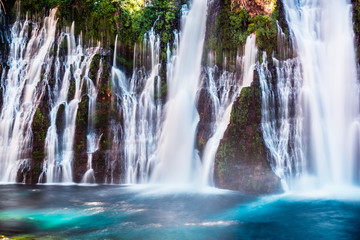 View of McArthur-Burney falls in Shasta National Forest, north California; long exposure