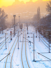 Train station in the evening - snow covered