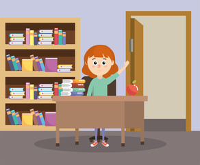 girl in the classroom with desk and education books