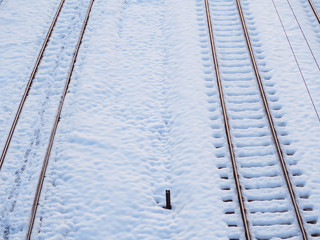 Empty train tracks in the winter time