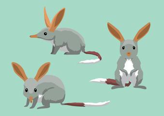 Cute Bilbies Cartoon Vector Illustration
