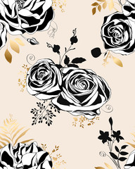 Floral pattern.  Black and white roses and peonies.