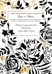 Vector  floral wedding invitation. Black and white roses and peonies.