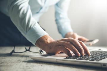 man hand computer keyboard