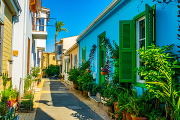 Photo sur cadre textile Chypre narrow street in the residential area of Nicosia, Cyprus