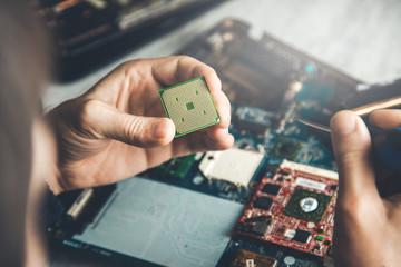 man hand microchip