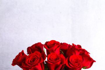 Close Up View of a Bouquet of Red Roses