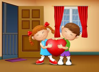 Cartoon happy couple kid holding a heart