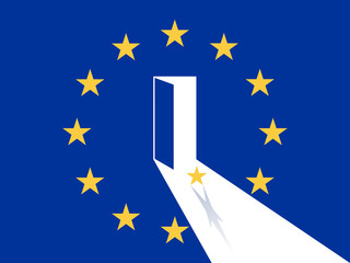 European Union, A Star Leaving out of Exit Door on the EU Flag Vector Illustration
