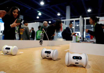Pet fitness robots, which move automatically or are controlled with a smartphone, are displayed at the Varlam booth during the 2019 CES in Las Vegas