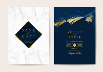 Wall Mural - Luxurious Wedding invitation cards with marble and Golden texture background Vector.