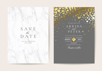 Luxurious Wedding invitation cards with marble and Golden texture background Vector.