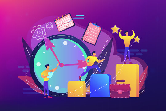 Businessman sets goals and runs up on graph columns for success on time. Self-management, self regulation learning, self-organization course concept. Bright vibrant violet vector isolated illustration
