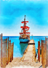 Digital painting. Drawing watercolor. Seascape, sea, ship.