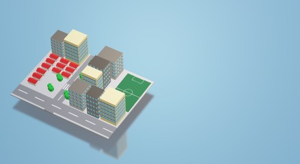 3D Building city image for background content.