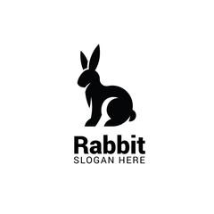 Rabbit logo template isolated on white background