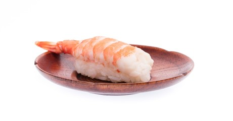 sushi shrimp and rice in a dish isolated on a white background