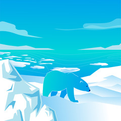 vector image of a polar bear walking on white snow, glacier, against the sea with ice