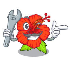 Mechanic hambiscus flower in the mascot stem