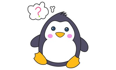 Vector cartoon illustration of cute penguin confused. Isolated on white background.
