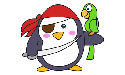 Keuken foto achterwand Beren Vector cartoon illustration of cute pirate penguin with sword and parrot. Isolated on white background.