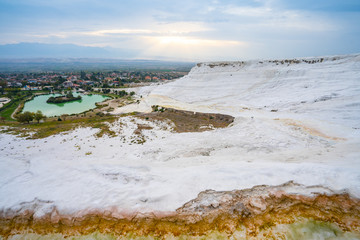 Wall Mural - Panoramic view of travertine terraces at Pamukkale in Denizli, Turkey