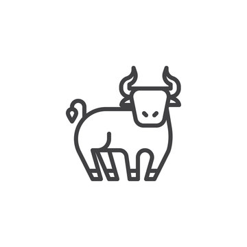Ox Chinese zodiac line icon. linear style sign for mobile concept and web design. Chinese year of ox outline vector icon. Symbol, logo illustration. Pixel perfect vector graphics