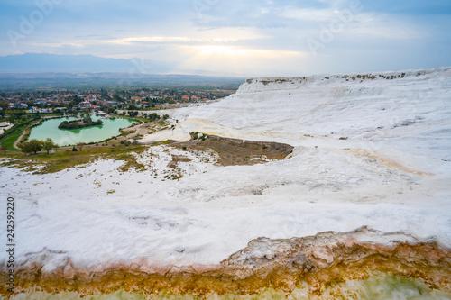 Wall mural Panoramic view of travertine terraces at Pamukkale in Denizli, Turkey