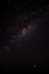 Milky Way. Fantastic night landscape with purple milky way,