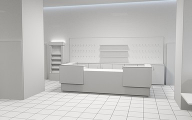 shop, mall, shopping mall, interior visualization, 3D illustration
