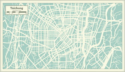 Taichung Taiwan City Map in Retro Style. Outline Map.