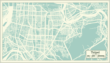 Taipei Taiwan City Map in Retro Style. Outline Map.