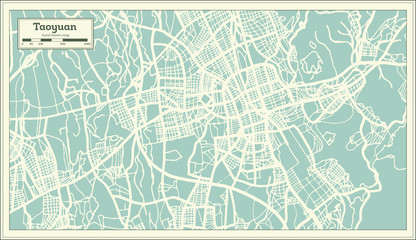 Taoyuan Taiwan City Map in Retro Style. Outline Map.