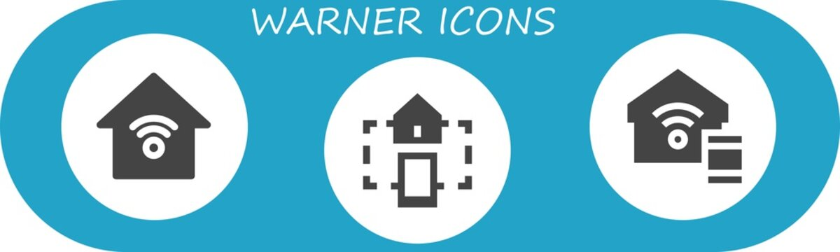 Vector icons pack of 3 filled warner icons