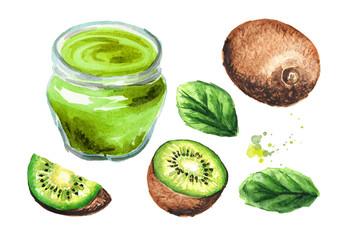 Delicious kiwi jam and fresh fruits set. Watercolor hand drawn illustration  isolated on white background