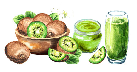 Ripe kiwi fruits, juice and jam. Watercolor hand drawn illustration  isolated on white background