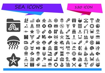Vector icons pack of 120 filled sea icons