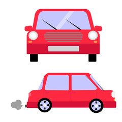 Red avto front view side view vector