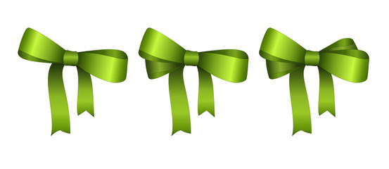 Set of Vector Shiny Green Satin Gift Bow Close up Isolated on White Background.