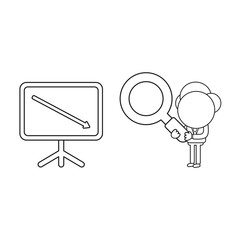 Vector illustration of businessman character holding magnifying glass to sales chart arrow moving down. Black outline.