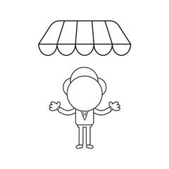 Vector illustration of businessman character under store awning. Black outline.