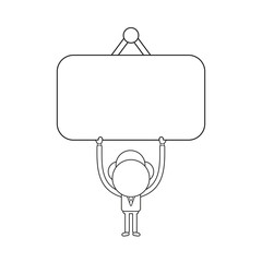 Vector illustration of businessman character holding up hanging sign. Black outline.