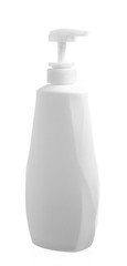 white bottle of lotion isolated in white background