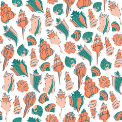 Hand Drawn Sea Pattern with Doodle Shells. Marine Vector Illustration.