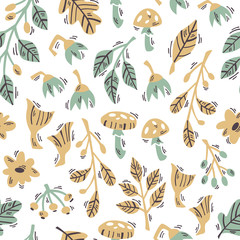 Seamless Pattern with Doodle Forest Plants on White Background.  Hand Drawn Vector Illustration.