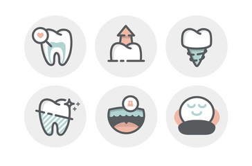 Flat icons set of dental care theme. Dental services, equipment and products, dental treatment and prosthetics. Vector concept for graphic and web design