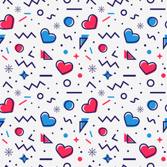 Hearts seamless pattern in Memphis style.
