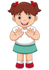illustration of isolated cute girl waving hand on white background