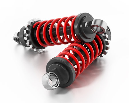 Shock absorbers isolated on white background. 3D illustration